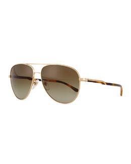 Stella McCartney Metal Aviator Sunglasses, Golden