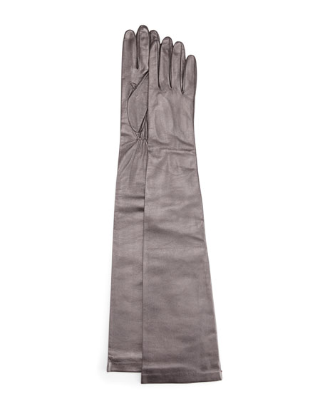 Opera-Length Leather Gloves, Navy