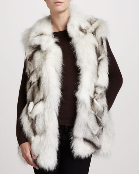 Stand-Collar Fox Fur Vest, White/Gray