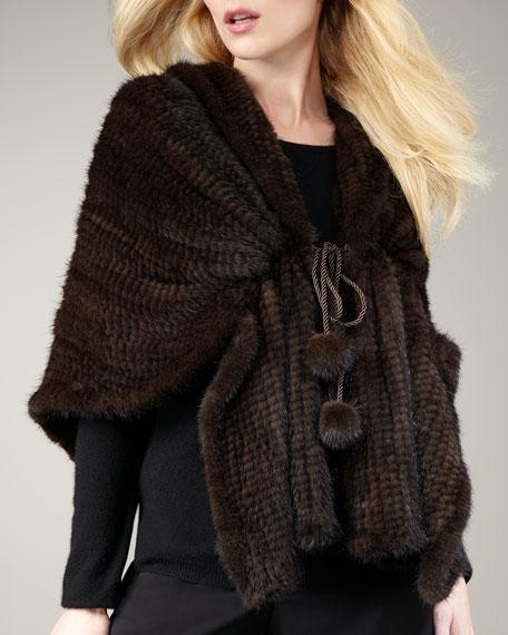 Knit Mink Fur Shawl