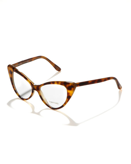 Cat-Eye Fashion Glasses, Shiny Black