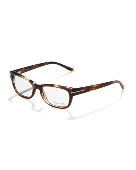 Unisex Semi-Rounded Rectangular Fashion Glasses, Striped Brown