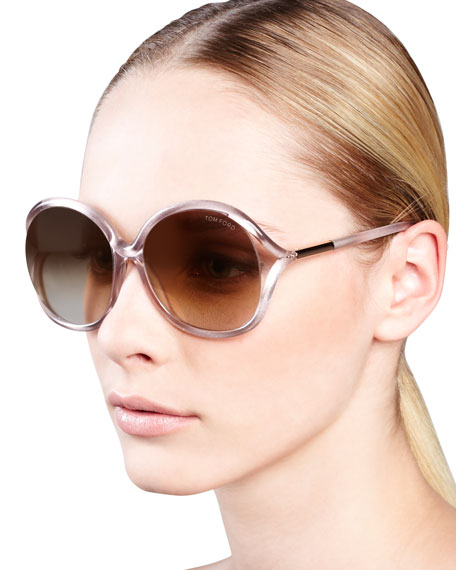 Rhi Glitter Oversized Open-Temple Sunglasses