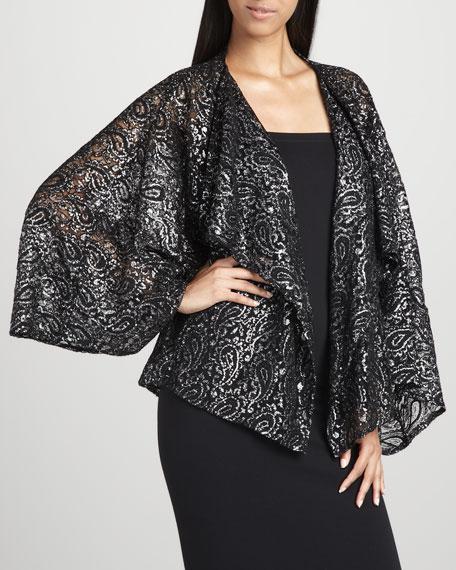 Paisley-Sequined Kimono Wrap