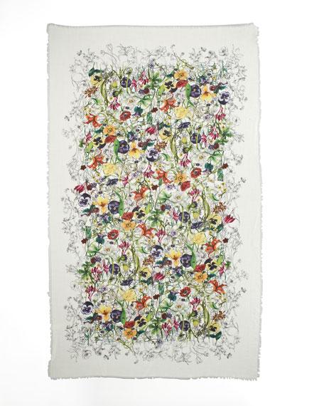 Nissa Vintage Floral-Print Stole, White