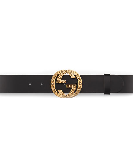 Metal Stud Interlocking GG Leather Belt, Nero