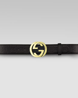 Gucci Leather GG Buckle Belt, Nero