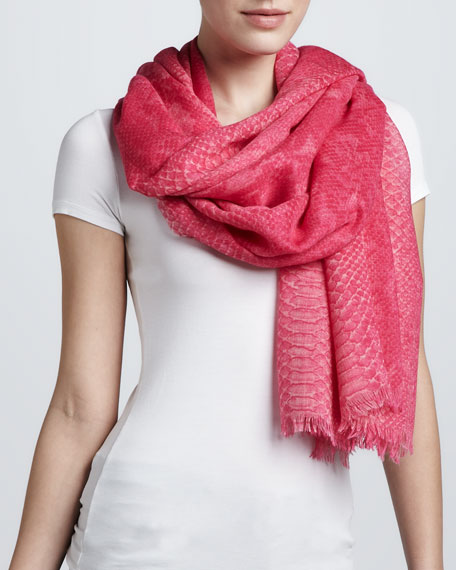 Python-Print Scarf, Bright Pink