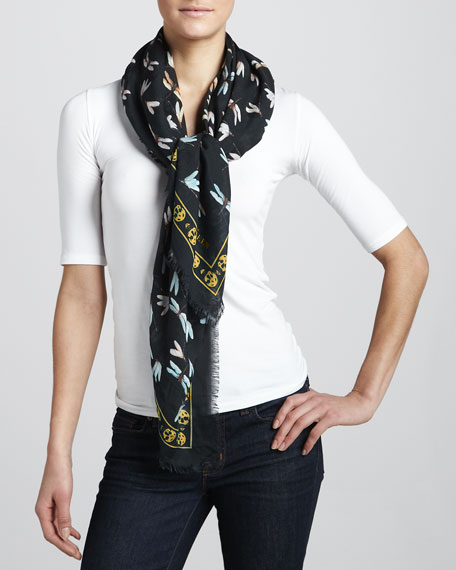 Dragonflies on Skull Scarf, Black/Grey