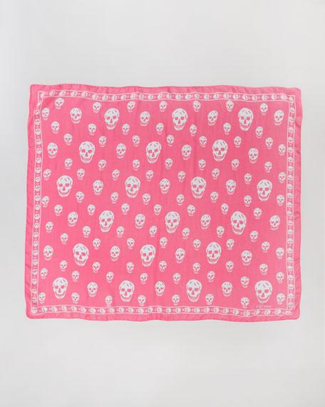 Skull-Print Chiffon Scarf, Fuchsia/Sky Blue