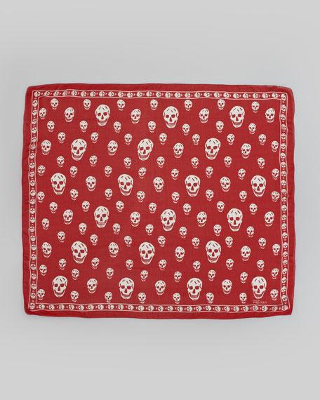 Skull Chiffon Scarf, Flame/White