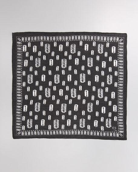 Razor Blade-Print Scarf, Black