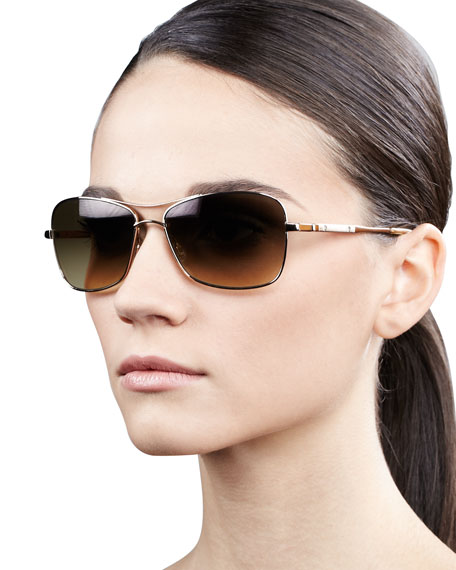 Sanford Rectangle Aviator Sunglasses, Golden