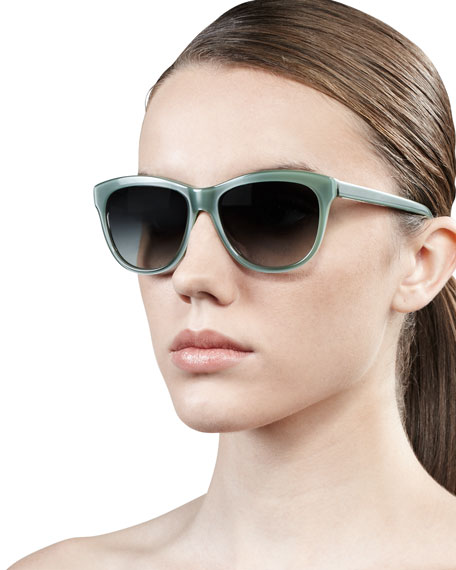 Reigh Semi-Round Sunglasses, Sea Foam