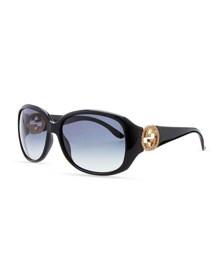Wrap Crystal Logo Sunglasses, Black