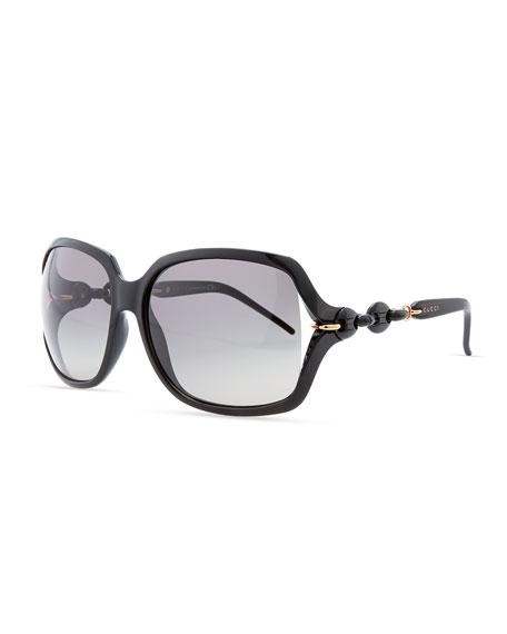 Open-Temple Square Sunglasses, Shiny Black