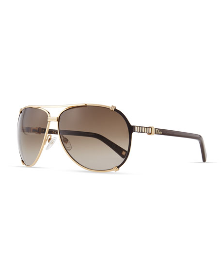 Chicago Crystal Aviator Sunglasses, Rose Golden/Brown