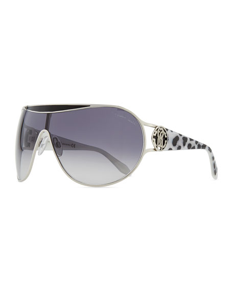 Metal-Framed Shield Sunglasses, Snow Leopard