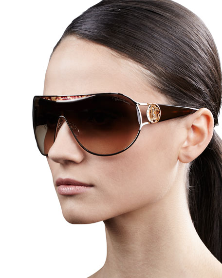 Metal-Framed Shield Sunglasses, Havana