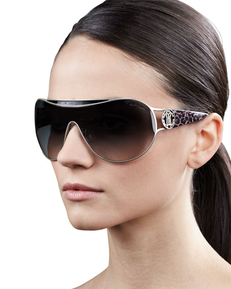 Metal-Framed Shield Sunglasses, Natural Leopard