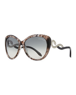 Roberto Cavalli Serpent-Temple Oversized Cat-Eye Sunglasses, Black