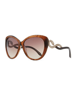 Roberto Cavalli Serpent-Temple Oversized Cat-Eye Sunglasses, Brown