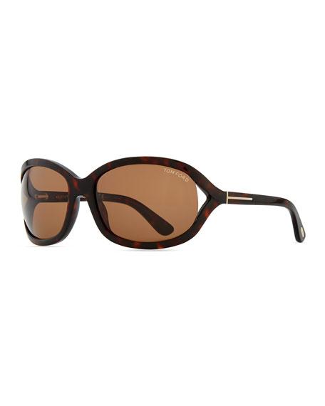 Vivienne Rounded Sunglasses, Dark Havana