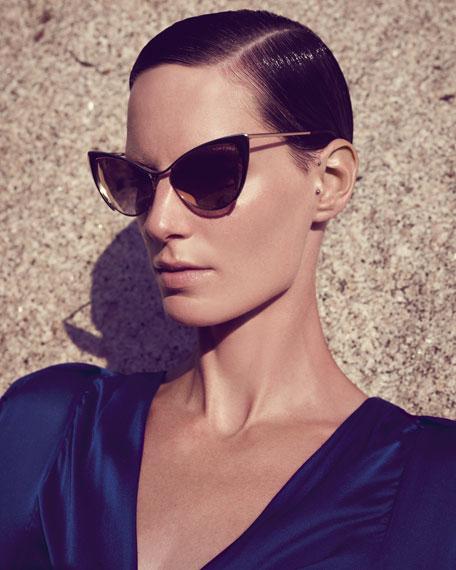 Nastasya Metal Cat-Eye Sunglasses