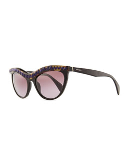 Prada Purple Crystal-Encrusted Cat-Eye Sunglasses, Havana/Black