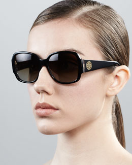 Tory Burch Logo-Temple Rounded Rectangle Sunglasses, Black