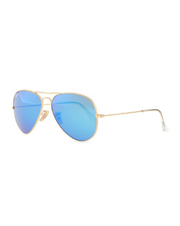 Aviator Sunglasses with Flash Lenses, Gold/Blue Mirror