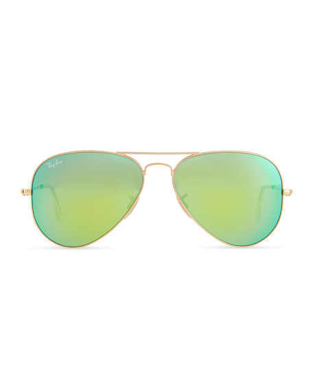 Aviator Sunglasses with Flash Lenses, Gold/Green Mirror