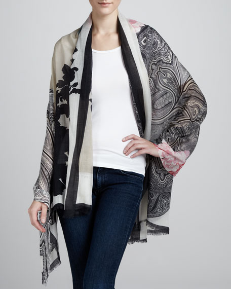 Floral Paisley Cashmere Stole, Black/Ivory/Pink
