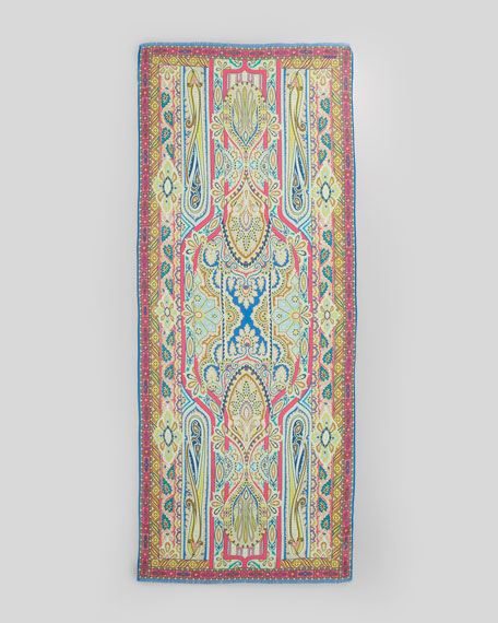 Classic Paisley Chiffon Scarf, Turquoise/Pink