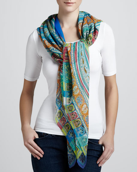 Paisley-Print Square Bomb Scarf, Orange/Purple
