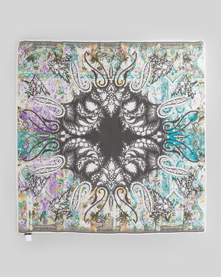 Paisley-Print Square Bomb Scarf, Black