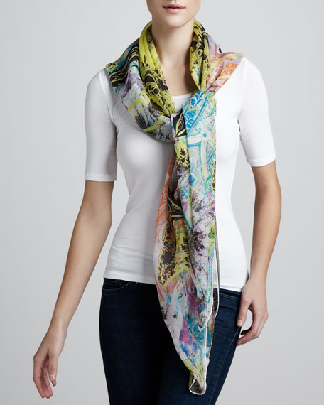 Paisley-Print Square Bomb Scarf, Yellow