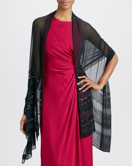 Beaded Chiffon Stole, Black