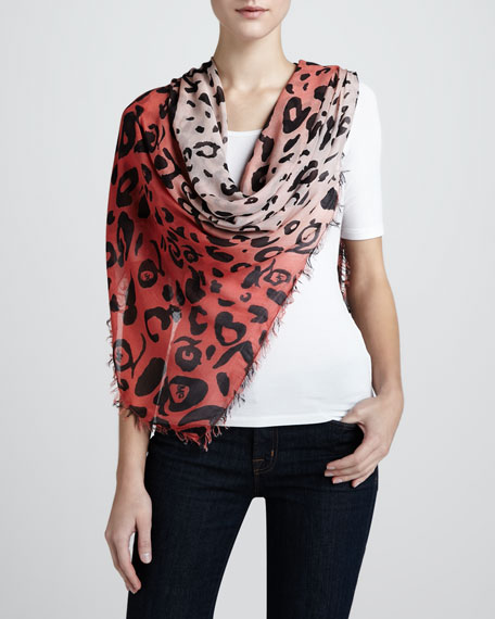 Leopard-Print Scarf, Coral/Pink