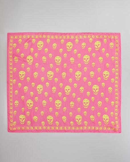Skull-Print Chiffon Scarf, Magenta/Yellow