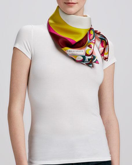 Yin Yang Timeless Silk Scarf, Fuchsia/Multicolor