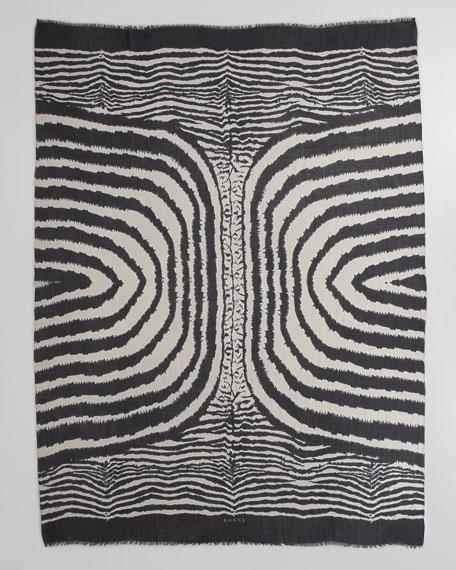 Zebra Graphic Oversize Scarf, Black/Beige