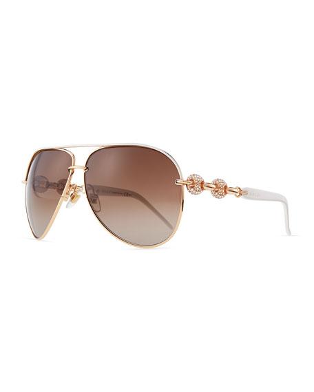 Crystal-Temple Aviator Sunglasses, White