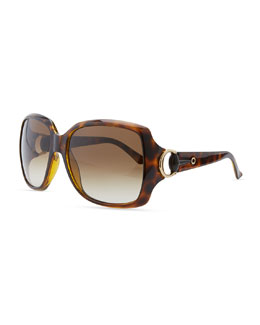 Gucci Rounded-Square Sunglasses, Havana