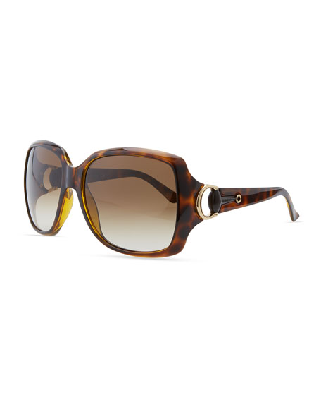 Rounded-Square Sunglasses, Havana