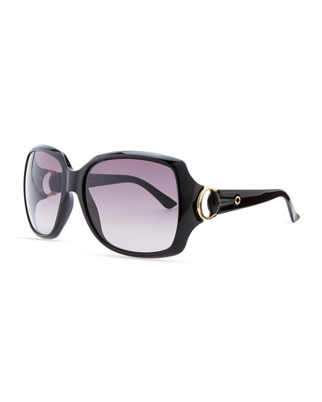 Rounded-Square Sunglasses, Shiny Black