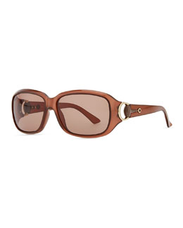 Gucci Rounded-Rectangle Sunglasses, Opal Brown