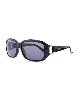 Gucci Rounded-Rectangle Sunglasses, Shiny Black