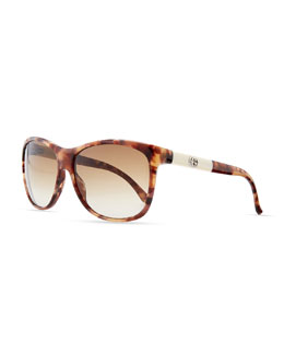 Gucci Square Sunglasses, Brown/Beige