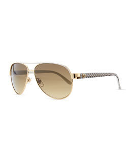 Gucci Metal Aviator Sunglasses, Ivory